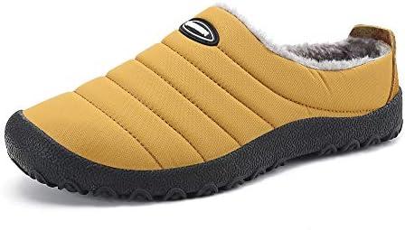 Gaatpot Unisex Adulto Invierno Zapatillas de Casa Antideslizantes Cálido Fluff Pantuflas Zapatos de Casa Interior Suave Algodón Zapatilla Amarillo 40EU