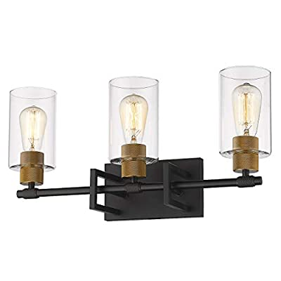 Zeyu 3-Light Vanity Wall Light, Vintage Vanity Light Fixture for Bathroom Kitchen 22 Inch, Black and Antique Gold Finish with Clear Glass Shade, 1102-3 BK+AG