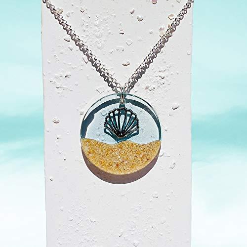 Shelly- Blaues Meer Halskette | Wasser Anhänger | Harz Strandsandschmuck | Festival Natur Anhänger | Boho | Surfer Geschenk für Sie - 45UH