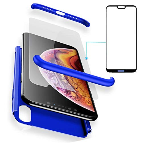 AILZH Funda Huawei P20 Pro 360°Caja Caso+Vidrio Templado(Azul)