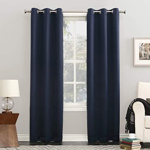"""Sun Zero Easton Grommet Curtain Panel, 40"""" x 84"""", Navy Blue"""
