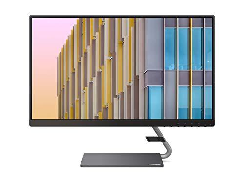 Lenovo Q24h-10 60,45 cm (23,8 Zoll, 2560x1440, WQHD, 75Hz, WideView, entspiegelt) Monitor (HDMI, DisplayPort, 4ms Reaktionszeit, AMD Radeon FreeSync) grau