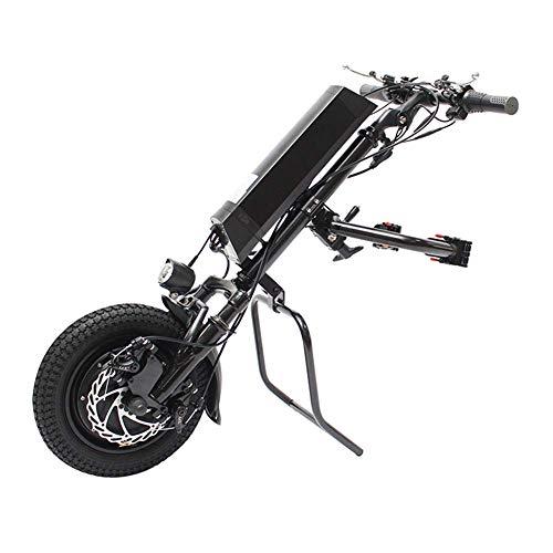 lqgpsx Elektrischer 36V 500W Rollstuhl Handrad Rollstuhlaufsatz mit 10,4 Ah Batterie, Therapie Elektrischer Rollstuhl Umbausatz mit Frontlicht