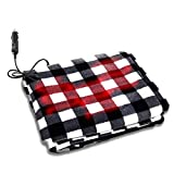 Zone Tech Car Travel Blanket –Premium Quality 12V Automotive Black and White Plaid Polar Fleece Material Comfortable Seat Blanket Great for Winter, Home, Road Trip and Camping