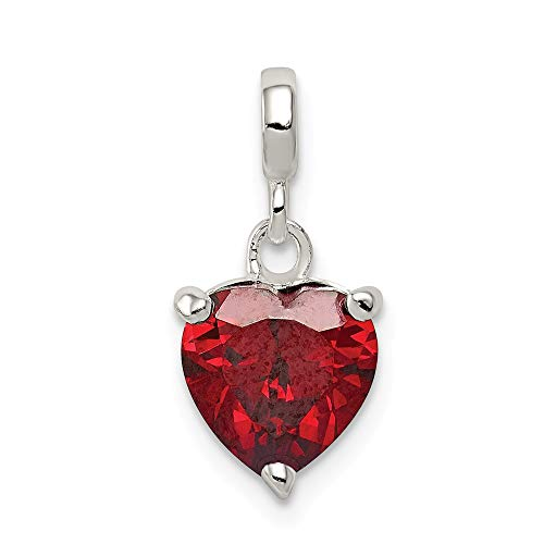 925 Sterling Silver Dark Red Cubic Zirconia Cz Heart Enhancer Necklace Pendant Charm Love Fine Jewelry For Women Gifts For Her