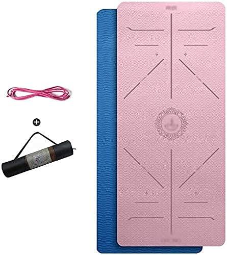 Stuoia da yoga per donna Matchetto da polso 6 mm, 8 mm antiscivolo Stuoia da yoga a doppio colore reversibile TPE. Stuoie di allenamento per le donne Uomini con cinturino e sacchetto di maglia traspir
