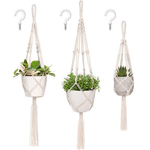 Mkono Macrame Plant Hangers, 3 Different Sizes Indoor Hanging Planters Basket Decorative Flower Pots Holder Stand Boho Home Decor, Ivory