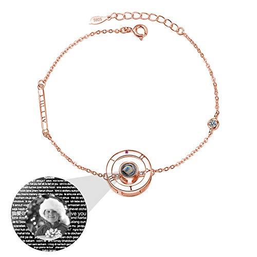 RYTUUFKJGS Love Memory Photo Bracelet Pulsera Personalizada 100 Idiomas Diferentes TE Amo Pulsera Pulsera de proyección(Oro Rosa Blanco y Negro)