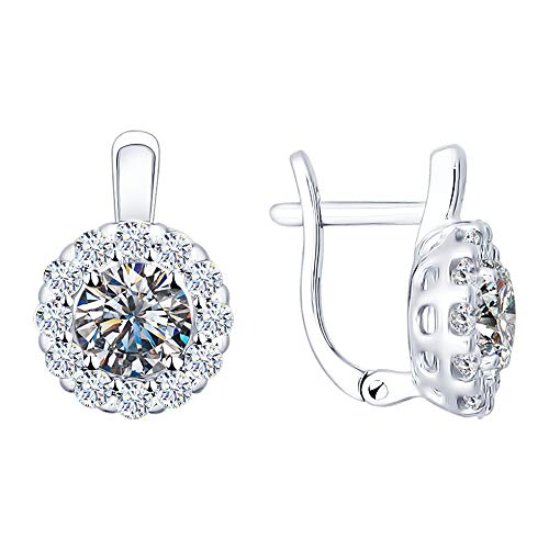 925 Silver Short Earrings with Round Swarovski Zirconia