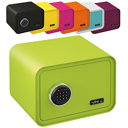 MySafeDisplay cassaforte Design Safe 250X 350X 280mm (AxLxP) Numero codice lucchetto diversi colori verde, viola, rosa, blu/bianco