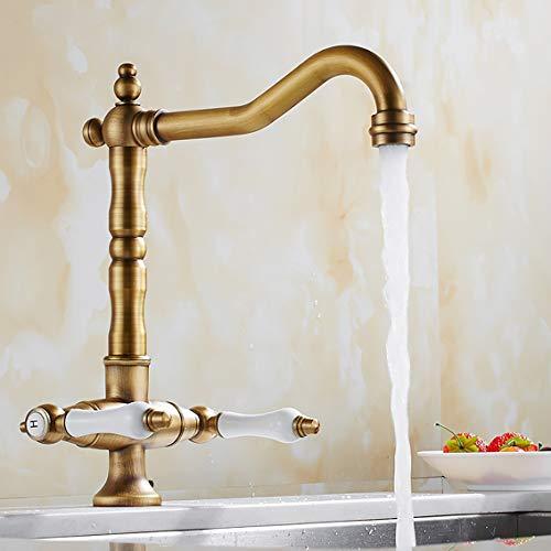 Grifo de cocina de latón antiguo, giratorio 360°, con 2 asas de cerámica, grifo con caño alto, para cocina o baño, estilo vintage (dorado)