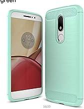 Motorola Moto M - Carbon Fiber TPU Gel Slim Lightweight Case Cover -Green