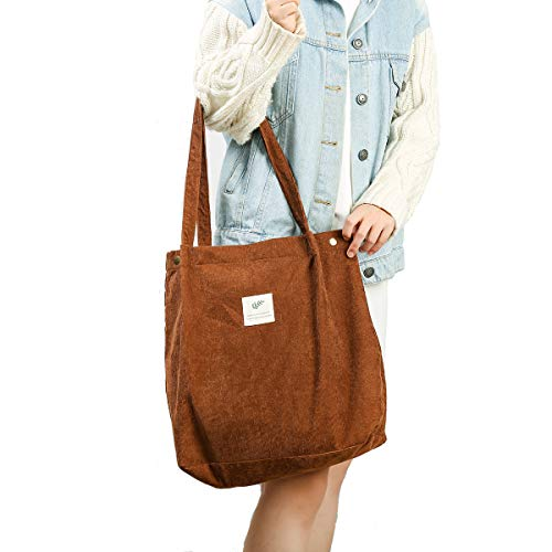 Gophra Corduroy Tote Bag for Women Girls Kids Shoulder Bag with Inner Pocket For Work Beach Lunch Travel And Shopping Grocery (Brown)