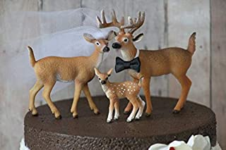 Deer Family Wedding Cake Topper Family Cake Topper Mr & Mrs Deer Bride and Groom Rustic Country Chic Wedding