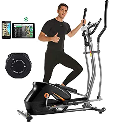ANCHEER APP Elliptical Machine, Compact Elliptical Trainer with 10 Levels Magnetic Resistance, 390 Weight Capacity & Large Multi-Function LCD Display for Walking at Home (Gary)