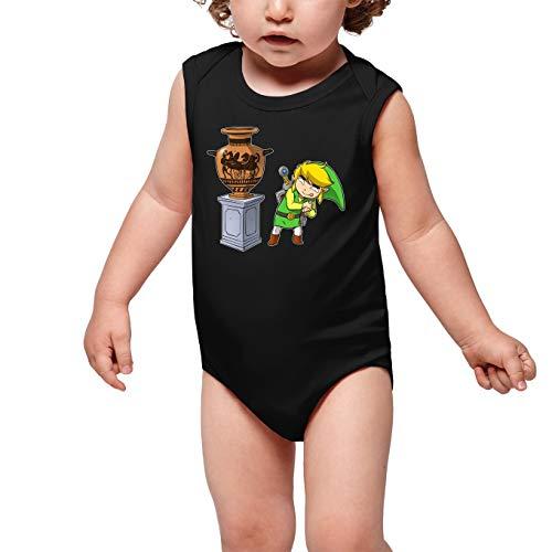 OKIWOKI Grappige Zelda Zwarte Mouwloze Baby Bodysuit - Link en De Prijsloze Antieke vaas (Zelda Parody) (Ref:826)