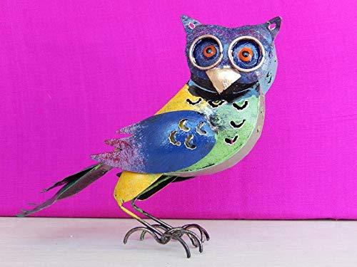 Eule aus Metall Dekofigur Gartendeko Vogel Kauz Uhu Windlicht 14 cm Bunt