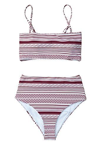 CUPSHE Women's Stripe Reversible Bandeau Top High Waisted Bikini (Medium (USA 8 10), Burgundy White)