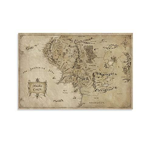 BUJI Póster de mapa de la Tierra Media del Señor de los Anillos, lienzo para decoración de la pared, regalo de 30 x 45 cm