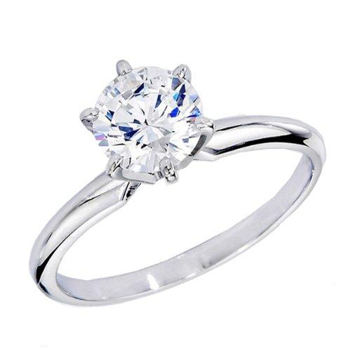 Anello Donna Certificazione IGI 0.98 Carat (ctw) 14 ct Oro Bianco Real Rotonda Diamante Donna Fidanzamento Solitario Ring 1 CT