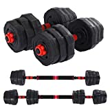 Tengma Dumbbells Barbell for Men Women 2 in 1 with Connector, Adjustable Dumbbell Barbell Sets Total 44lbs, Lifting Dumbells for Body Workout Home Gym(2020 Upgrade,One Pair)