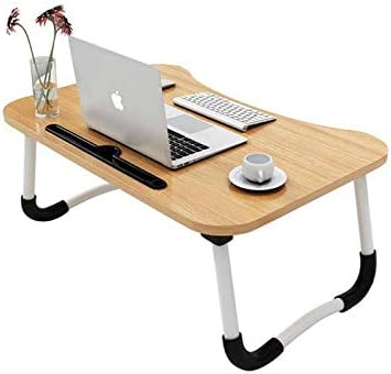 MemeHo® Smart Multi-Purpose Laptop Table with Dock Stand/Study Table/Bed Table/Foldable and Portable/Ergonomic & Rounded Edges/Non-Slip Legs/Engineered Wood (Normal Wood) product image