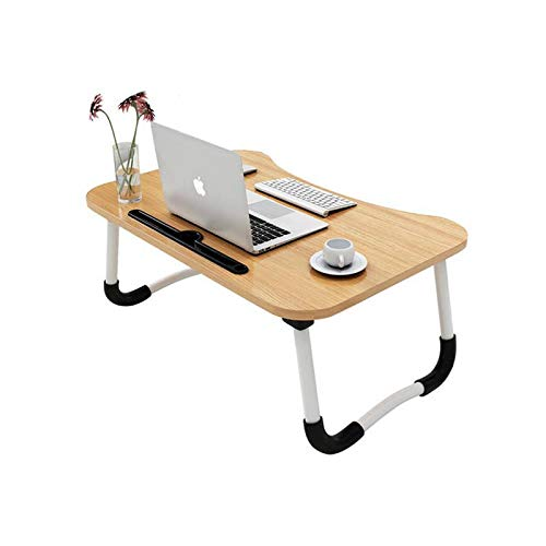 MemeHo® Smart Multi-Purpose Laptop Table with Dock Stand/Study Table/Bed Table/Foldable and Portable/Ergonomic & Rounded Edges/Non-Slip Legs/Engineered Wood (Normal Wood)