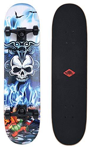 Schildkröt Skateboard Grinder 31, Premium Komplett-Board, konkave Deckform mit Doppel-Kick und Griptape, 9-lagiges Ahornholz, ABEC9 Kugellager, Design: Inferno, 510681