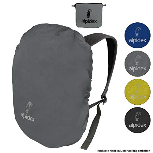 ALPIDEX Rucksack Regenschutz wasserdichte Regenhülle Kordelstopper Packsack Verschiedene Größen, Farbe:Grey, Volumen:55-80 Liter