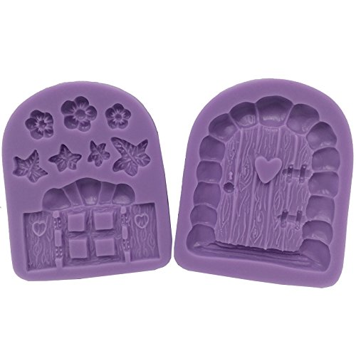FUNSHOWCASE Enchanted Vintage Fairy Garden Fairy or Gnome Home Door and Window Silicone Mold for Sugarcraft, Chocolate, Fondant, Resin, Polymer Clay, Soap Making, 2 Pieces in Set