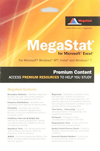 MegaStat for Excel 2007, 2010, and 2013 Access Card