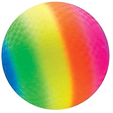 Toys+ 8.5 Inch Rainbow Colored Playground Ball (1 Rainbow Ball)