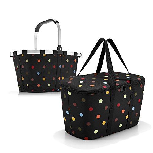 Set de courses 2 pièces composé d'un sac de transport Reisenthel / panier à provisions et sac isotherme Reisenthel / sac isotherme à pois / pois multicolores.