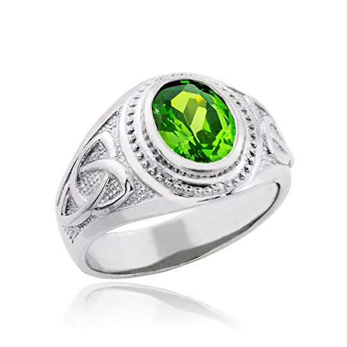 Kleine Schätze - Herren Ring/Verlobungsring/partnerring/Ehering 9 Karat Weißgold keltisch Smaragd Grün Oval Zirkonia Herren Ring