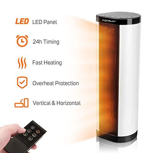 Calefactor eléctrico Aigostar Sun 33LCH – 3 niveles de potencia 400, 800 , 1200 w portátil – protección sobrecalentamiento