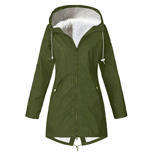 iHENGH Damen Solid Winter Warm Dick Outdoor Plus Size Kapuzenregenmantel Winddicht(A Grün-1, 3XL)