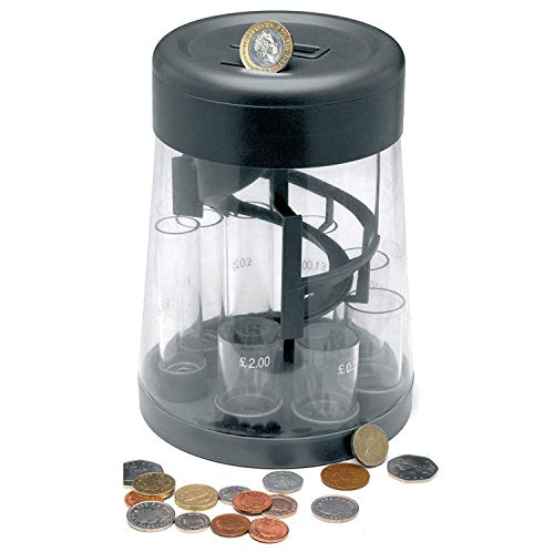 Ossian Digital Money Sorter and Counter – Electronic Battery Operated Coin Saving Cash Bank with Large Clear LCD Display - Sorts and Counts your Money as you Save - Accepts All UK Coins from 1p to £2