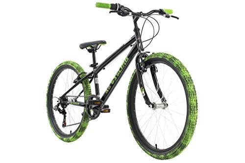 KS Cycling Kinderfahrrad Mountainbike 24'' Crusher schwarz-grün RH 31 cm