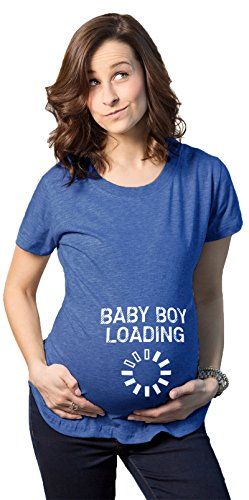 Crazy Dog Tshirts - Maternity Baby Boy Loading Funny Nerdy Pregnancy Announcement T Shirt (Royal) - S - Femme