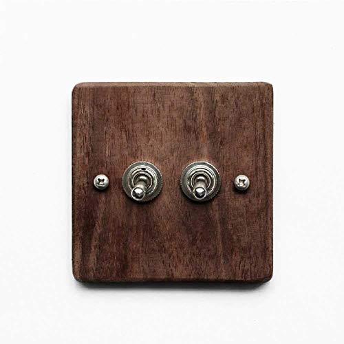 YiGanQiang El Interruptor Interruptor de luz de Arce Manual Switch Panel de Madera de época XX Kk (Color : Brown)