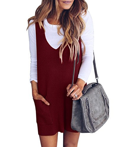Imily Bela Womens Ribbed Deep V Neck Knitted Shift Dress Tank Vest Sweater Wine Red
