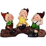 ZGYZ Flores Artificiales,3 Piezas de Adornos de jardín de muñecas Bonitas,Escultura de estatuas de Resina,no escuches el Mal,no hables Mal,no veas el Mal,Estanque de casa,decoración de Patio con FL