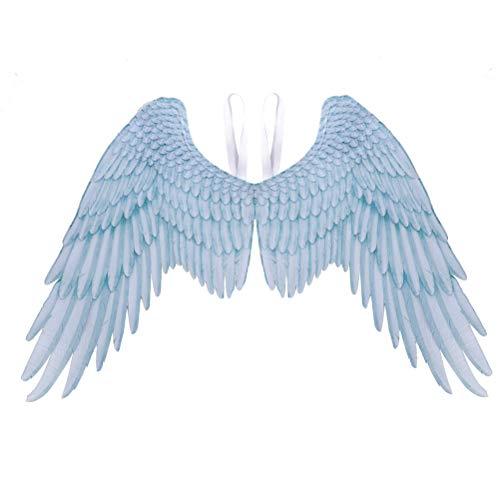 Wination Alas de ángel, disfraz de alas de ángel 3D, alas de ángel no tejidas, alas maléficas para Halloween, fiesta de carnaval, cosplay para adultos, color azul