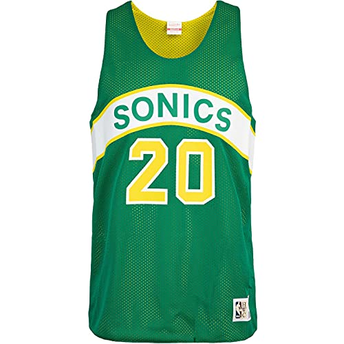 Mitchell & Ness Gary Payton Seattle Supersonics - Camiseta de tirantes reversible, Color verde., XL