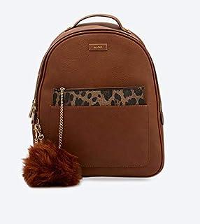 ALDO Zip Closure Sevadowiel Backpack with Furry Keychain - Brown
