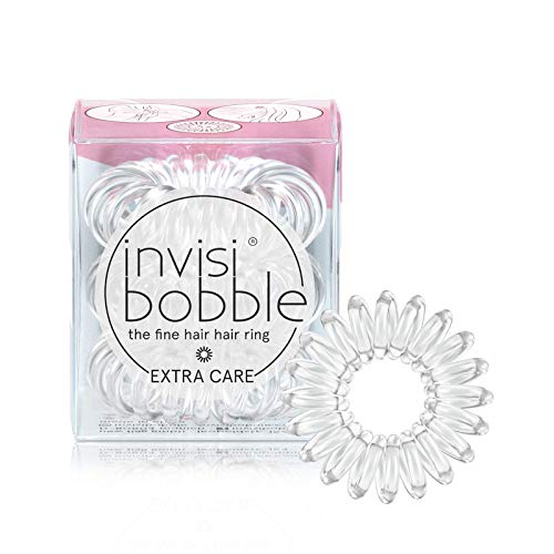 invisibobble Extra Care Traceless Spiral Hair Ties - Pack of 3 Crystal...