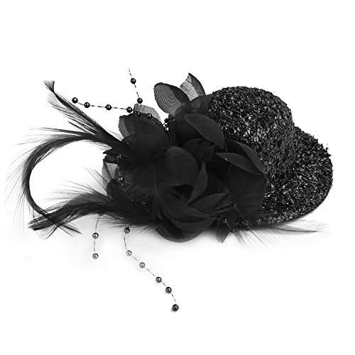 YJZQ Mini Chapeau Plume pour Danse Femme Fille Bibi mariage avec Paillette Bibî Fascinator Pince Vintage pour Représentation Cérémonie Déguisment Soirée