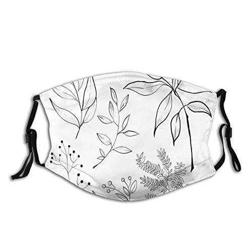 Comfortable Activated Carbon mask,Hand-Drawn Sketched Botanical Theme Tropical Leaves Twiggy Branched Foliage,Printed Facial decorations for adult