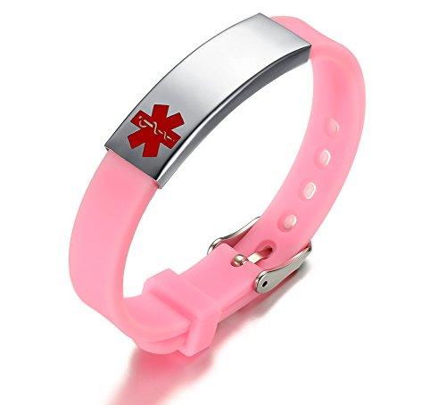 XUANPAI Edelstahl Rosa Silikon Armband Medical Alert Identifikation Kostenlose Gravur Verstellbare Armband Kostenlose Gravur Für Männer Frauen