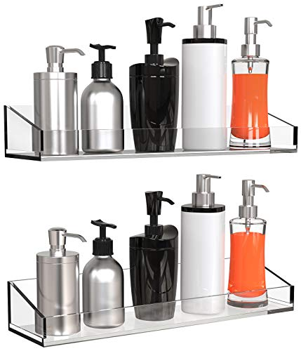 Vdomus Acrylic Bathroom Shelves, Wall Mounted no Drilling Thick Clear Storage & Display shelvings, 2 Pack (Original)